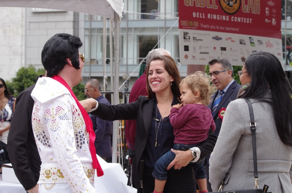"Greeting ""Elvis"" one of the amateur ringers at the 53rd Cable Car Bell Ringing Contest on July 7, 2016."