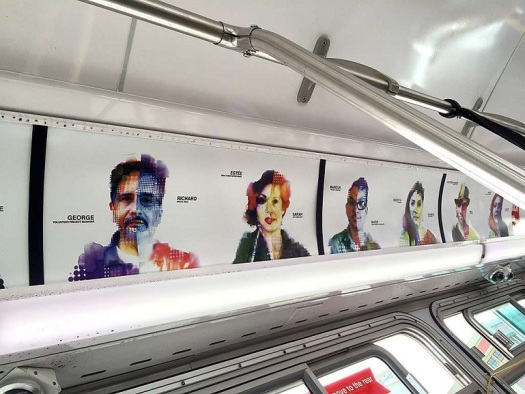 Philip Hua digital portraits on Muni bus