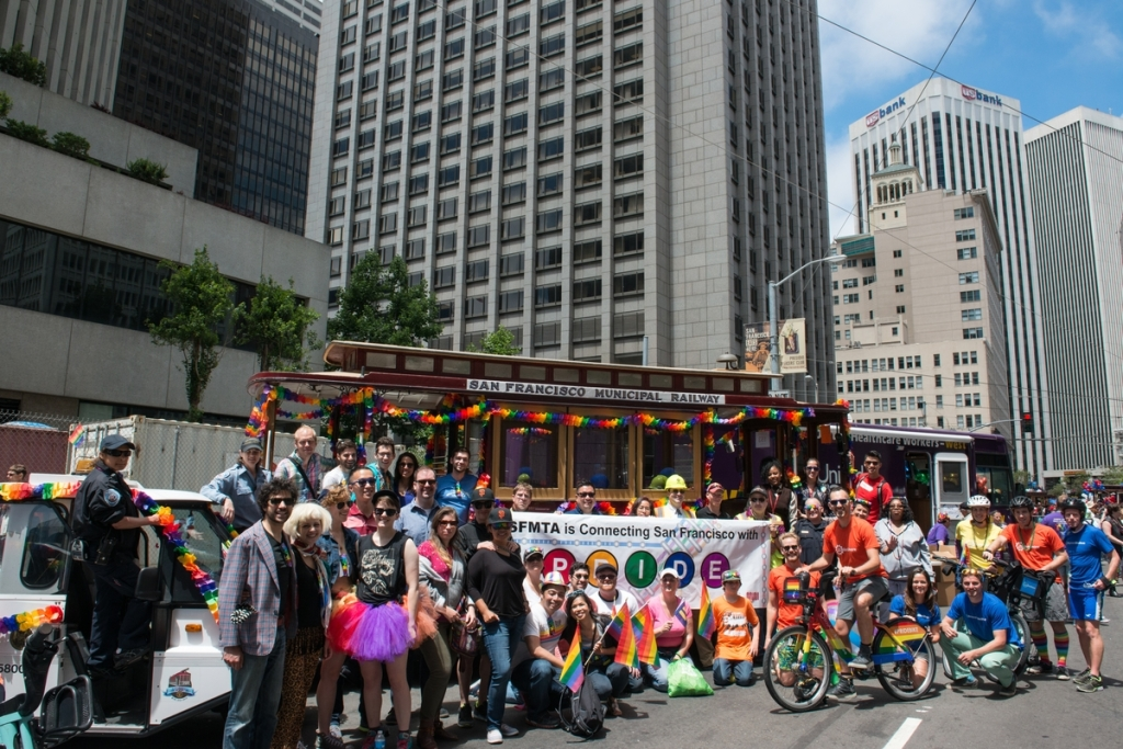 SFMTA Contingent in the Pride Parade | June 28, 2015. Photo by SFMTA Photography Department.