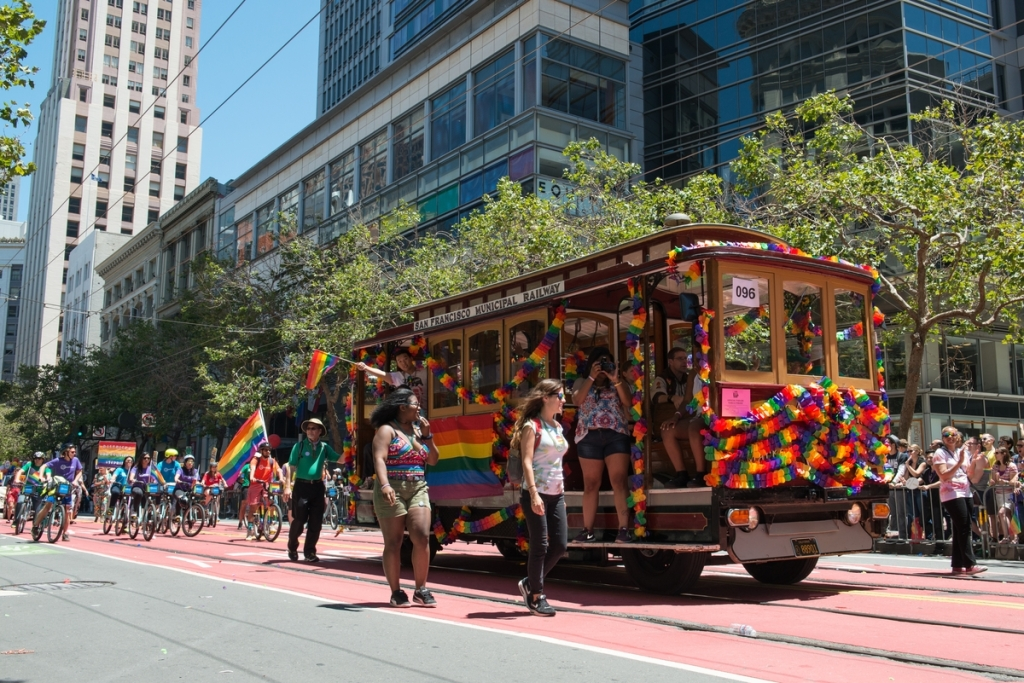 SFMTA Group in Pride Parade | June 26, 2016. Photo by SFMTA Photography Department.