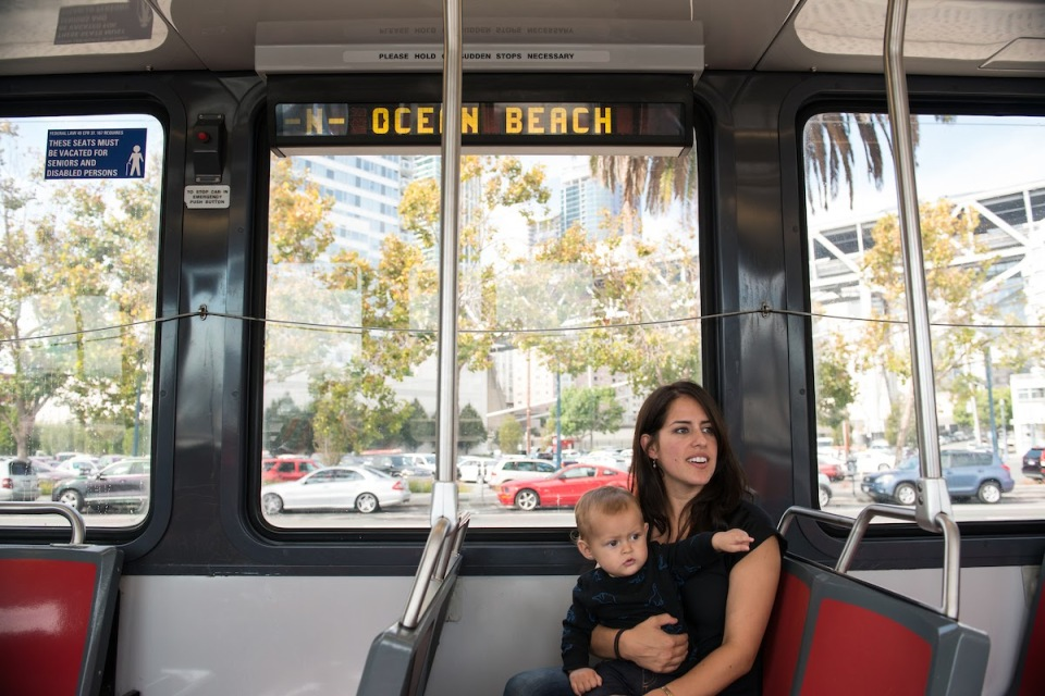 Mom and baby on Muni subway
